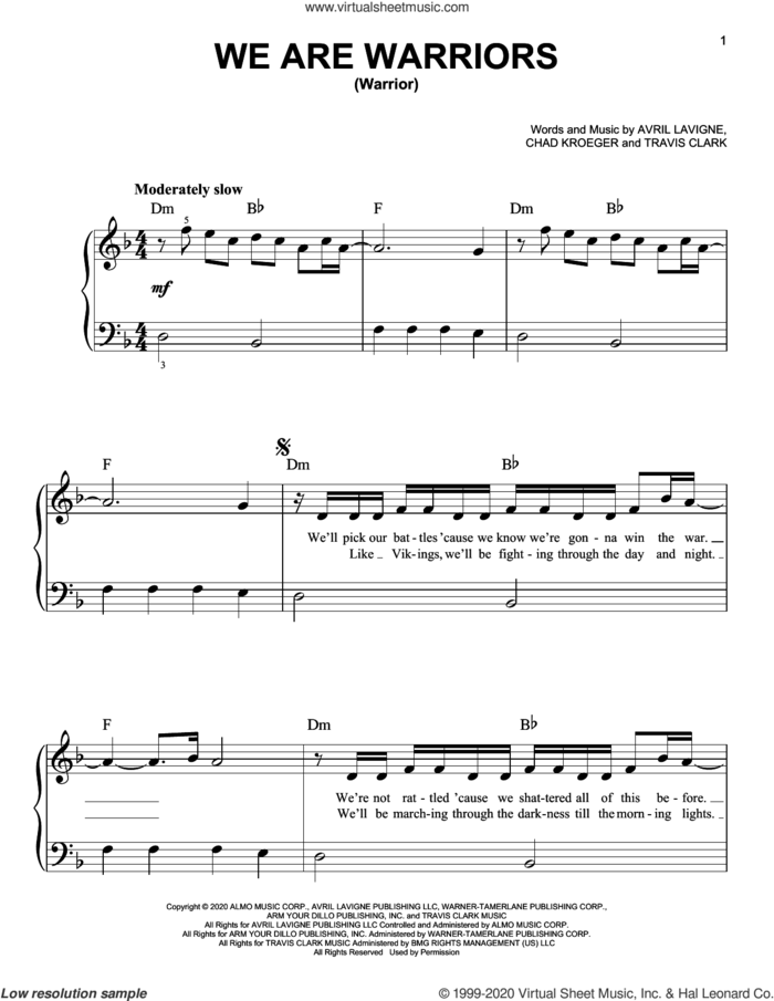 We Are Warriors (Warrior) sheet music for piano solo by Avril Lavigne, Chad Kroeger and Travis Clark, easy skill level