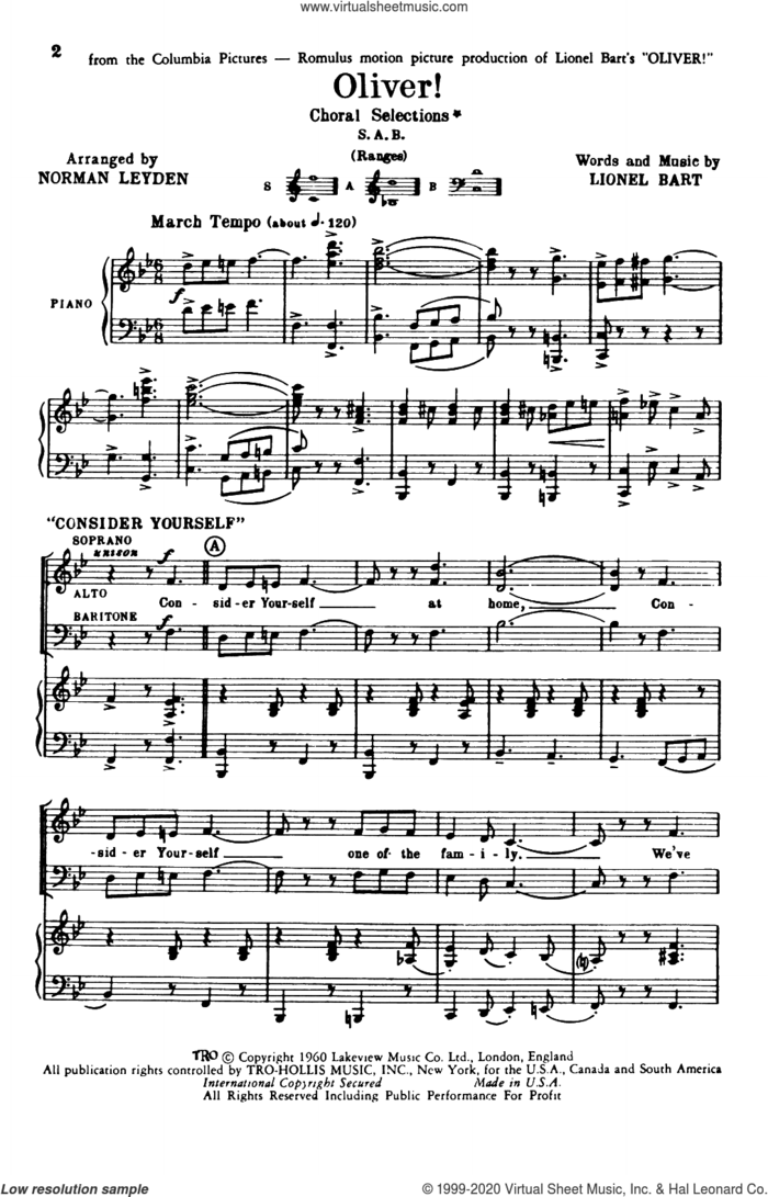 Oliver! (Choral Selections) (arr. Norman Leyden) sheet music for choir (SAB: soprano, alto, bass) by Lionel Bart and Norman Leyden, intermediate skill level