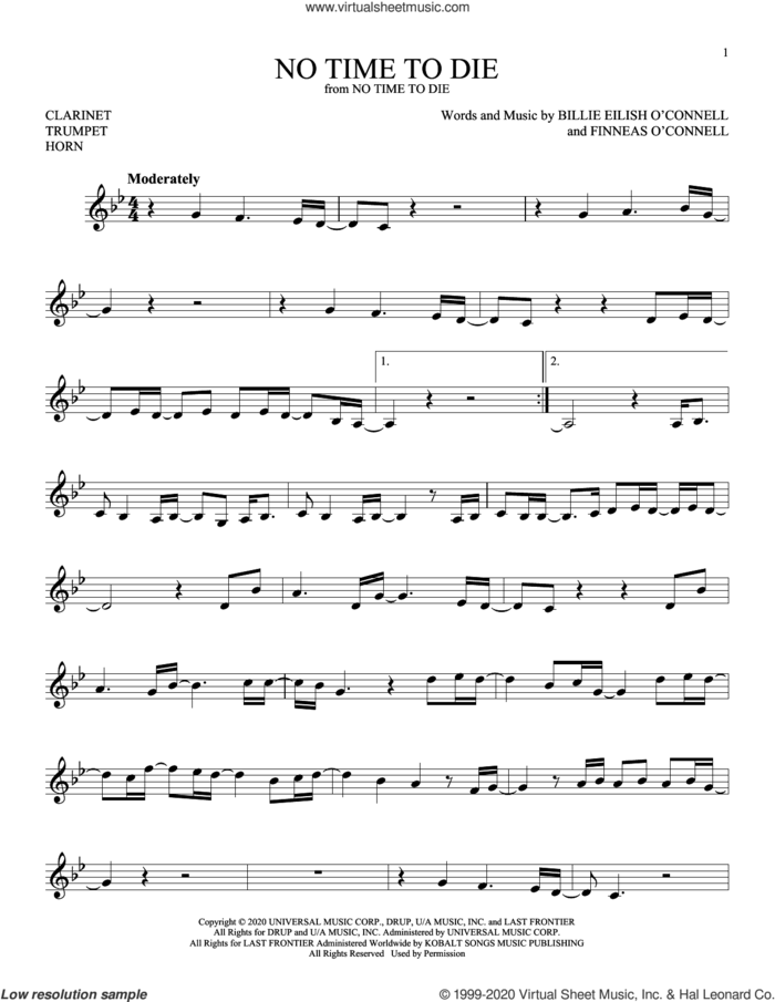 No Time To Die sheet music for Solo Instrument (treble clef low) by Billie Eilish, intermediate skill level