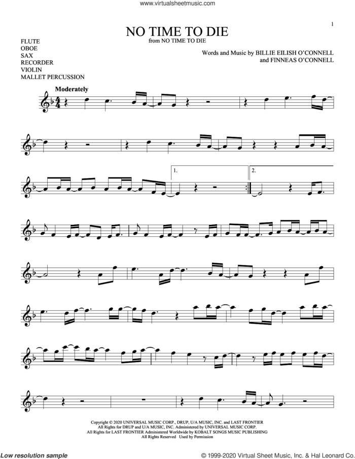 No Time To Die sheet music for Solo Instrument (treble clef high) by Billie Eilish, intermediate skill level