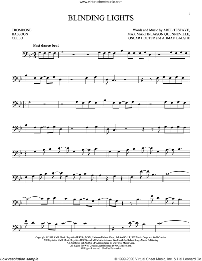 Blinding Lights sheet music for Solo Instrument (bass clef) by The Weeknd, Abel Tesfaye, Ahmad Balshe, Jason Quenneville, Max Martin and Oscar Holter, intermediate skill level