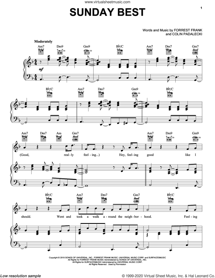 Sunday Best sheet music for voice, piano or guitar by Surfaces, Colin Padalecki and Forrest Frank, intermediate skill level