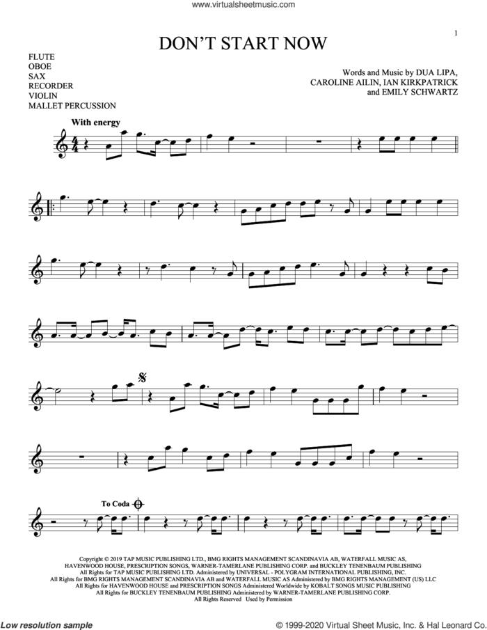 Don't Start Now sheet music for Solo Instrument (treble clef high) by Dua Lipa, Caroline Ailin, Emily Schwartz and Ian Kirkpatrick, intermediate skill level