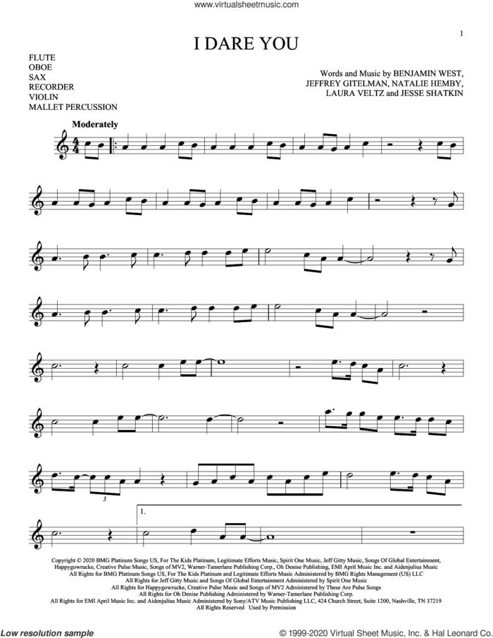 I Dare You sheet music for Solo Instrument (treble clef high) by Kelly Clarkson, Benjamin West, Jeffrey Gitelman, Jesse Shatkin, Laura Veltz and Natalie Hemby, intermediate skill level