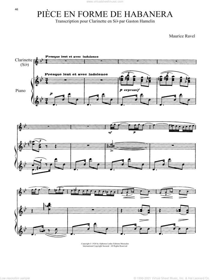 Piece En Forme De Habanera sheet music for clarinet and piano by Maurice Ravel, classical score, intermediate skill level