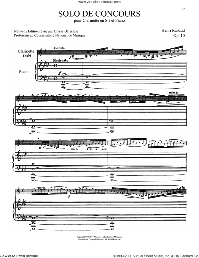 Solo De Concours sheet music for clarinet and piano by Henri Rabaud, classical score, intermediate skill level