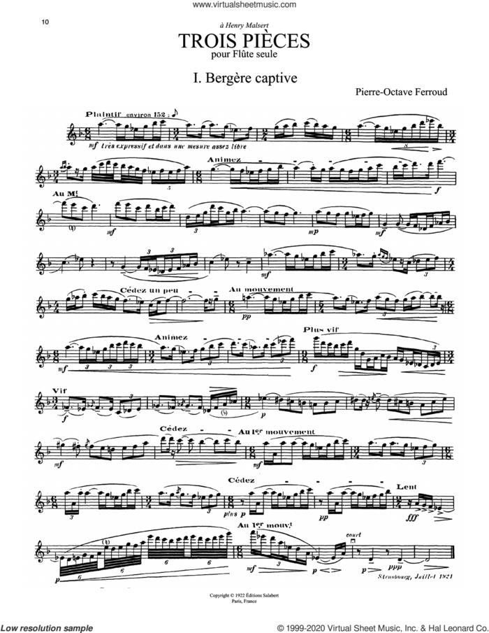 3 Pieces sheet music for flute solo by Pierre-Octave Ferroud, classical score, intermediate skill level