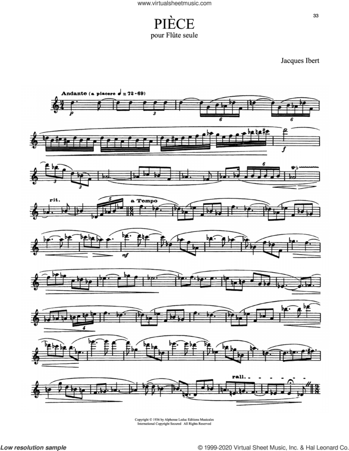 Piece Pour Flute Seule sheet music for flute solo by Jacques Ibert, classical score, intermediate skill level