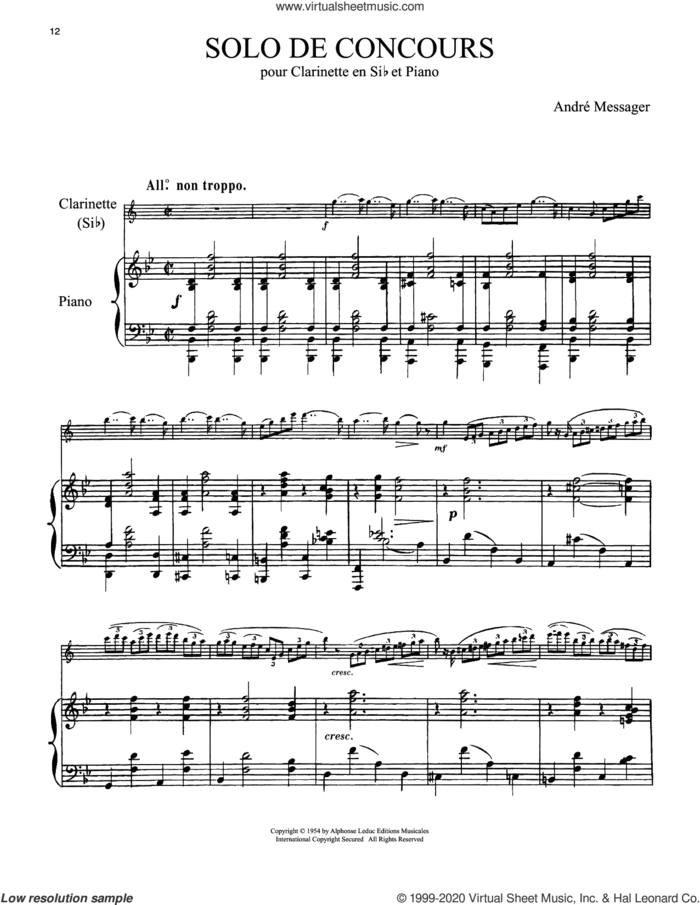 Solo De Concours sheet music for clarinet and piano by Andre Messager, classical score, intermediate skill level