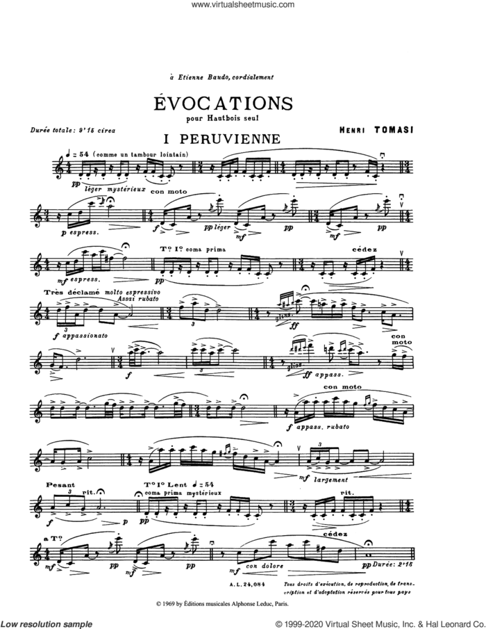 Evocations sheet music for oboe solo by Henry Tomasi, classical score, intermediate skill level