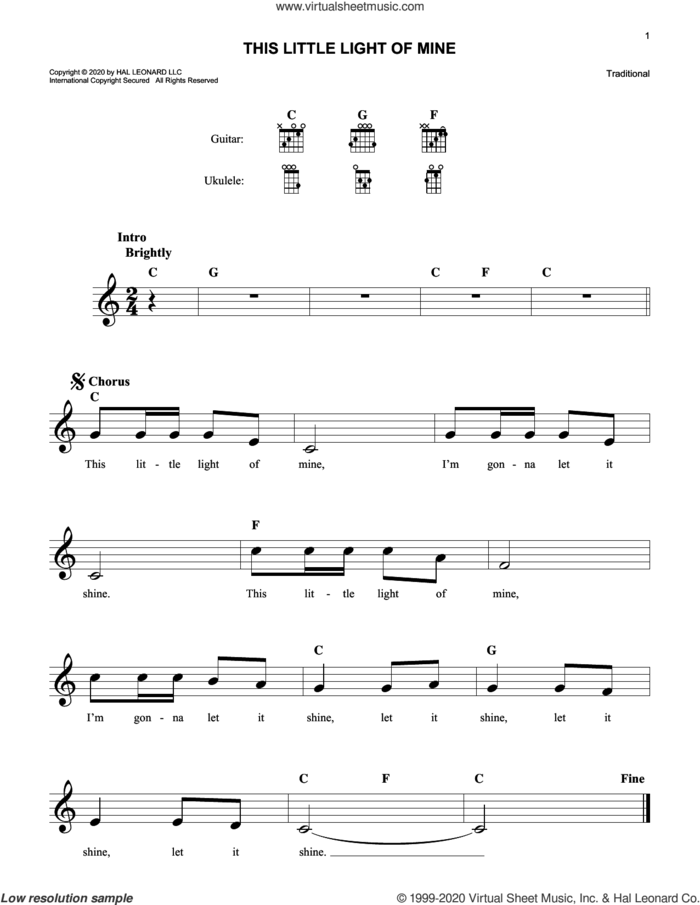 This Little Light Of Mine sheet music for voice and other instruments (fake book), intermediate skill level