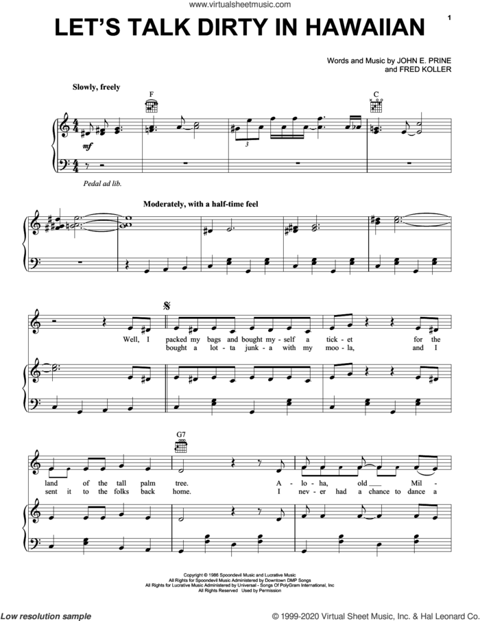 Let's Talk Dirty In Hawaiian sheet music for voice, piano or guitar by John Prine, Fred Koller and John E. Prine, intermediate skill level