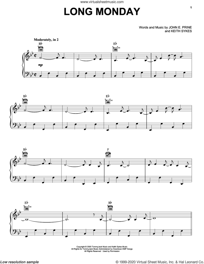 Long Monday sheet music for voice, piano or guitar by John Prine, John E. Prine and Keith Sykes, intermediate skill level