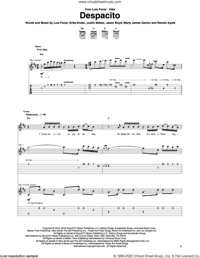 Despacito sheet music for guitar (tablature) by Luis Fonsi & Daddy Yankee feat. Justin Bieber, Erika Ender, Luis Fonsi and Ramon Ayala, intermediate skill level