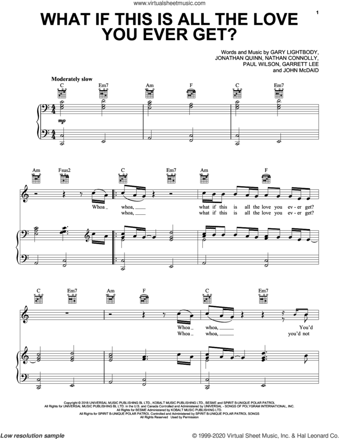 What If This Is All The Love You Ever Get? sheet music for voice, piano or guitar by Snow Patrol, Garret Lee, Gary Lightbody, John McDaid, Jonathan Quinn, Nathan Connolly and Paul Wilson, intermediate skill level