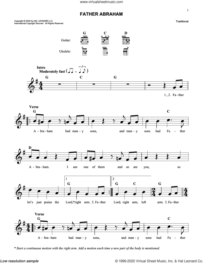 Father Abraham sheet music for voice and other instruments (fake book), intermediate skill level