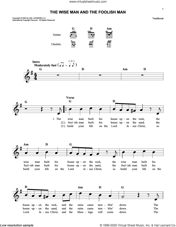 The Wise Man And The Foolish Man sheet music for voice and other instruments (fake book), intermediate skill level