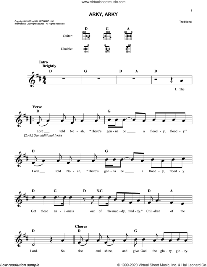Arky, Arky sheet music for voice and other instruments (fake book), intermediate skill level