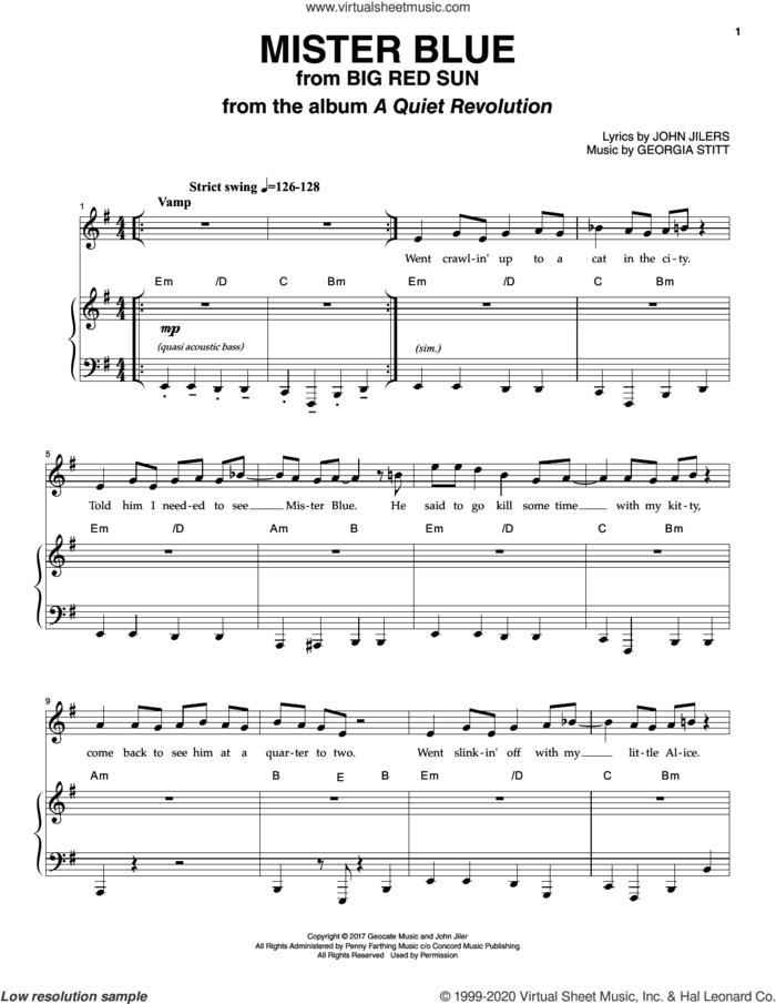 Mister Blue sheet music for voice and piano by Georgia Stitt and John Jiler, intermediate skill level