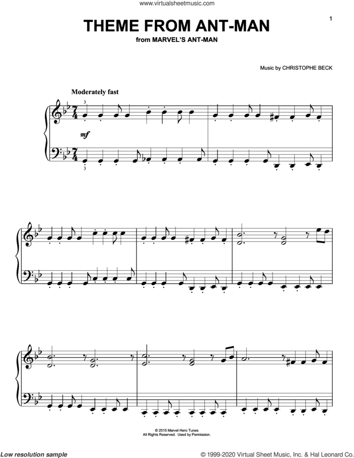 Theme from Ant-Man sheet music for piano solo by Christophe Beck, easy skill level