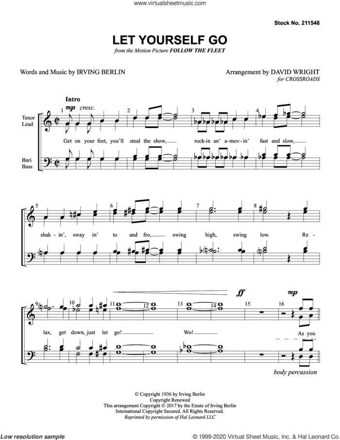 Let Yourself Go (arr. David Wright) sheet music for choir (TTBB: tenor, bass) by Crossroads, David Wright and Irving Berlin, intermediate skill level
