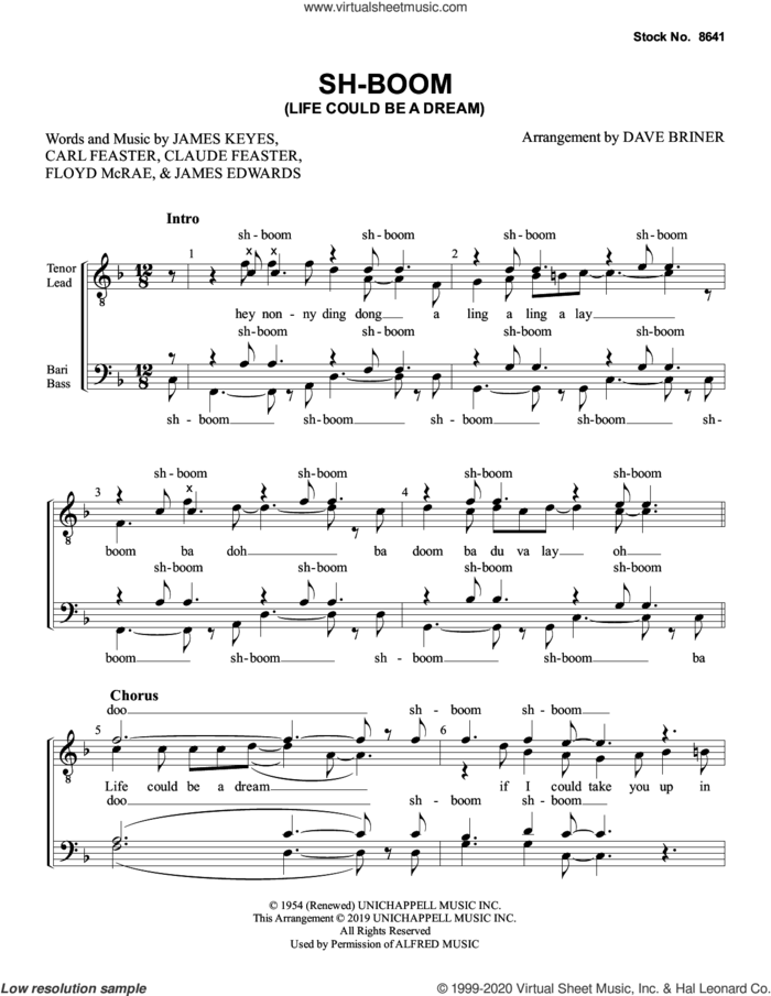 Sh-Boom (Life Could Be a Dream) (arr. Dave Briner) sheet music for choir (TTBB: tenor, bass) by The Crew-Cuts, Dave Briner, Carl Feaster, Claude Feaster, Floyd McRae, James Edwards and James Keyes, intermediate skill level