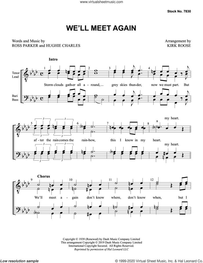 We'll Meet Again (arr. Kirk Roose) sheet music for choir (TTBB: tenor, bass) by Ross Parker, Kirk Roose, Hughie Charles and Ross Parker and Hughie Charles, intermediate skill level