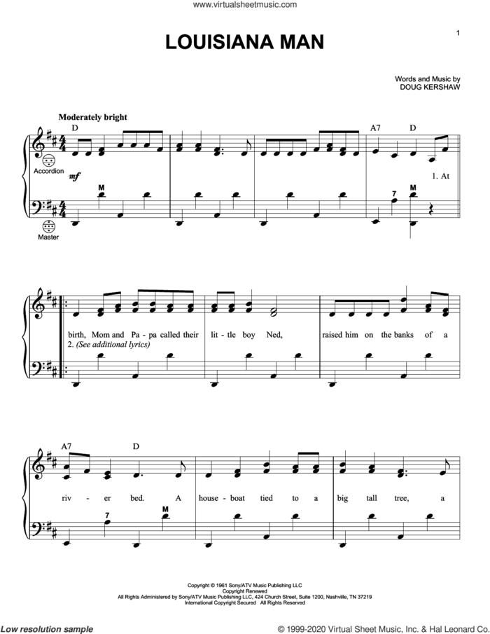 Louisiana Man sheet music for accordion by Doug Kershaw, intermediate skill level