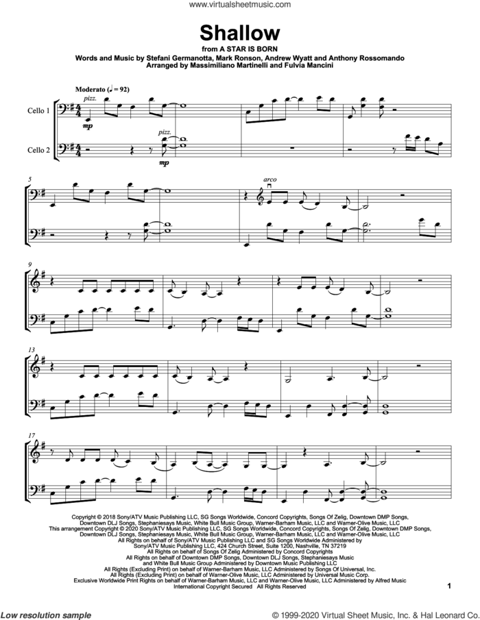 Shallow (from A Star Is Born) sheet music for two cellos (duet, duets) by Mr. & Mrs. Cello, Andrew Wyatt, Anthony Rossomando, Lady Gaga and Mark Ronson, intermediate skill level