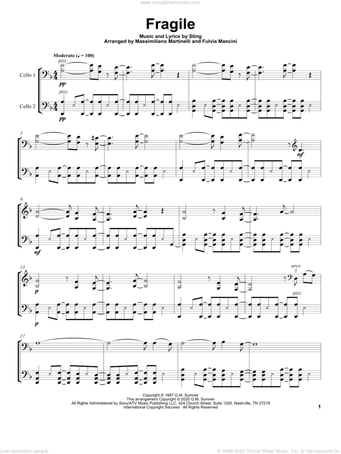 Fragile sheet music for two cellos (duet, duets) by Mr. & Mrs. Cello and Sting, intermediate skill level