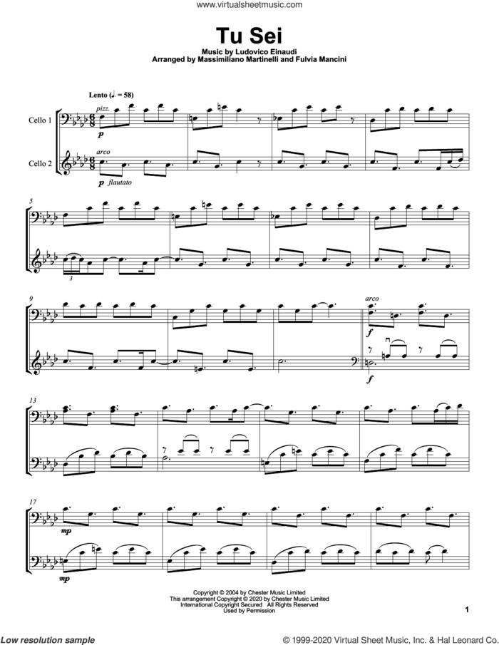 Tu Sei sheet music for two cellos (duet, duets) by Mr. & Mrs. Cello and Ludovico Einaudi, intermediate skill level