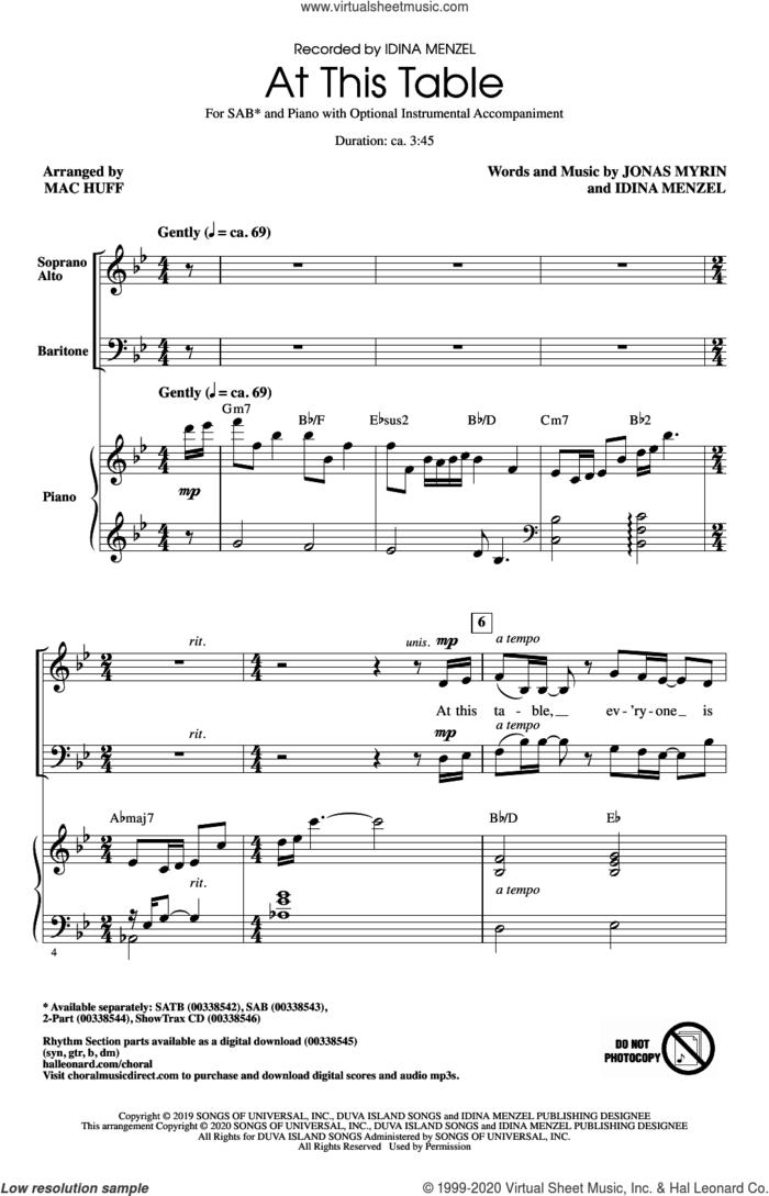 At This Table (arr. Mac Huff) sheet music for choir (SAB: soprano, alto, bass) by Idina Menzel, Mac Huff and Jonas Myrin, intermediate skill level