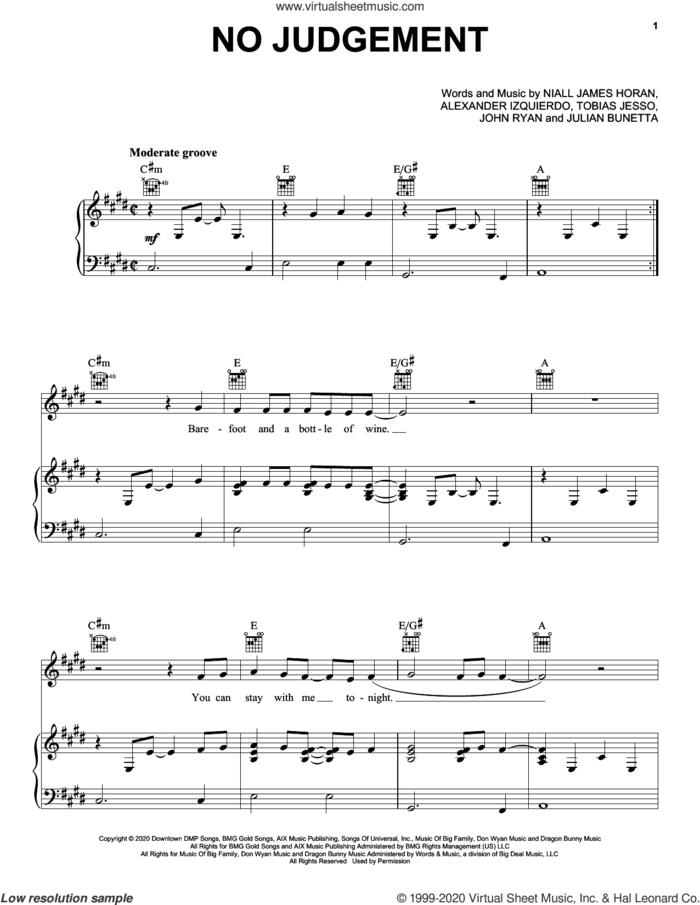 No Judgement sheet music for voice, piano or guitar by Niall Horan, Alexander Izquierdo, John Ryan, Julian Bunetta, Niall James Horan and Tobias Jesso, intermediate skill level
