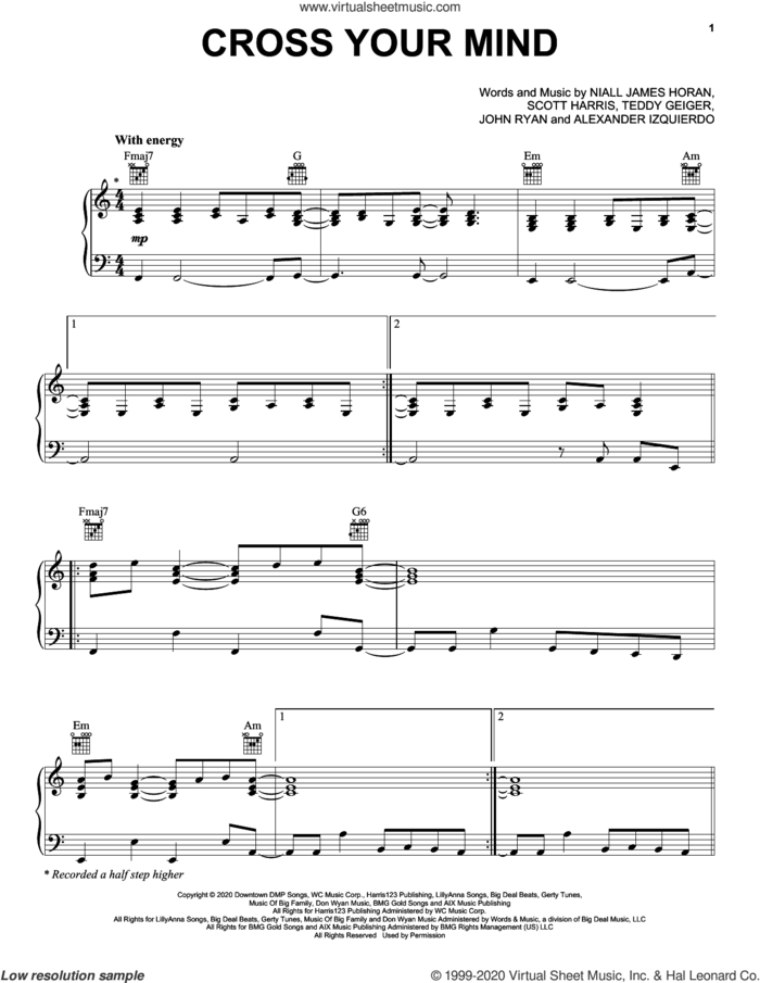 Cross Your Mind sheet music for voice, piano or guitar by Niall Horan, Alexander Izquierdo, John Ryan, Niall James Horan, Scott Harris and Teddy Geiger, intermediate skill level