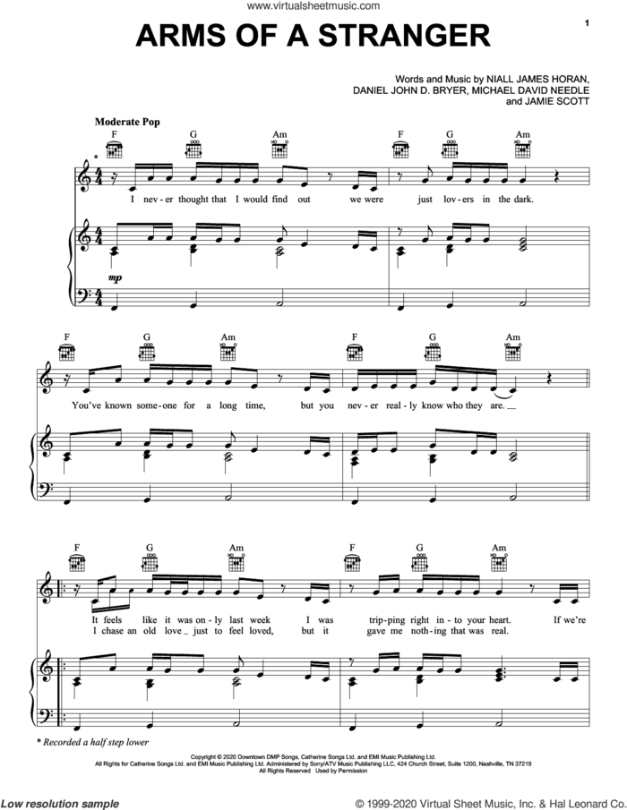 Arms Of A Stranger sheet music for voice, piano or guitar by Niall Horan, Dan Bryer, Jamie Scott, Mike Needle and Niall James Horan, intermediate skill level