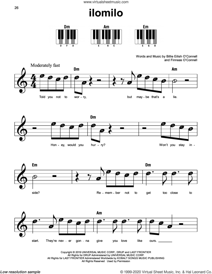 ilomilo sheet music for piano solo by Billie Eilish, beginner skill level
