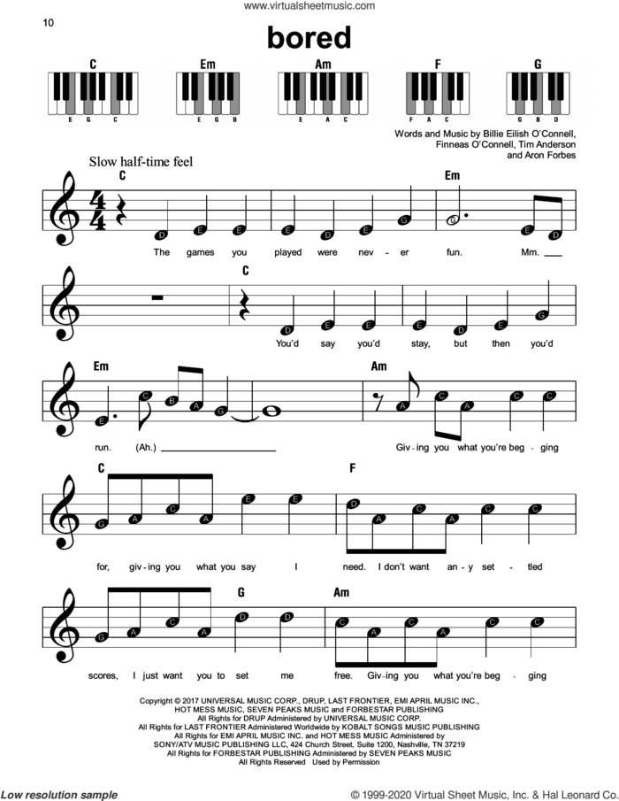 Bored sheet music for piano solo by Billie Eilish, Aron Forbes and Tim Anderson, beginner skill level