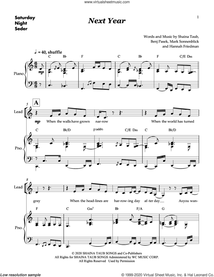 Next Year (from Saturday Night Seder) sheet music for voice and piano by Shaina Taub & Skylar Astin, Benj Pasek, Hannah Friedman, Mark Sonnenblick and Shaina Taub, intermediate skill level
