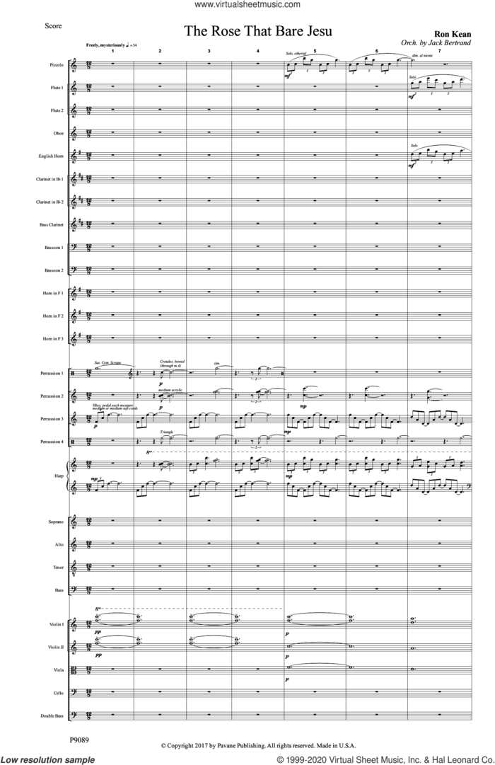 The Rose that Bare Jesu (COMPLETE) sheet music for orchestra/band by Ron Kean, intermediate skill level
