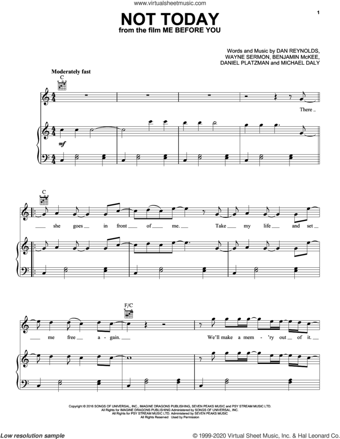 Not Today (from Me Before You) sheet music for voice, piano or guitar by Imagine Dragons, Benjamin McKee, Dan Reynolds, Daniel Platzman, Michael Daly and Wayne Sermon, intermediate skill level