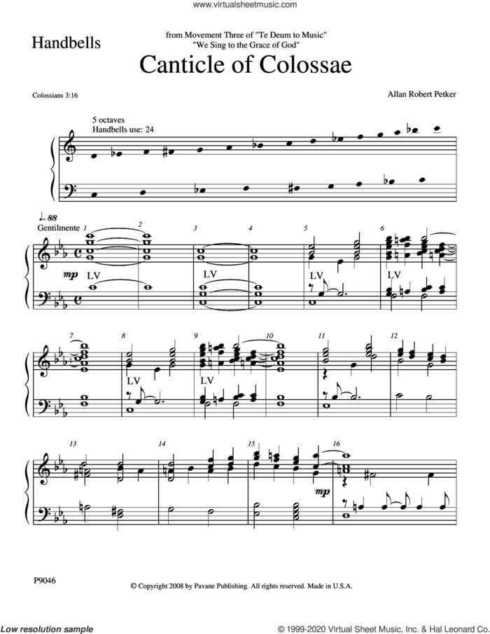 Canticle of Colossae sheet music for orchestra/band (Handbells) by Allan Robert Petker, intermediate skill level