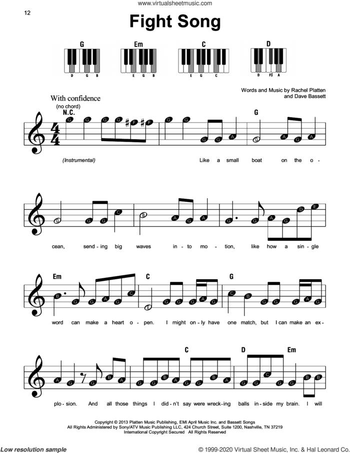 Fight Song, (beginner) sheet music for piano solo by Rachel Platten and Dave Bassett, beginner skill level