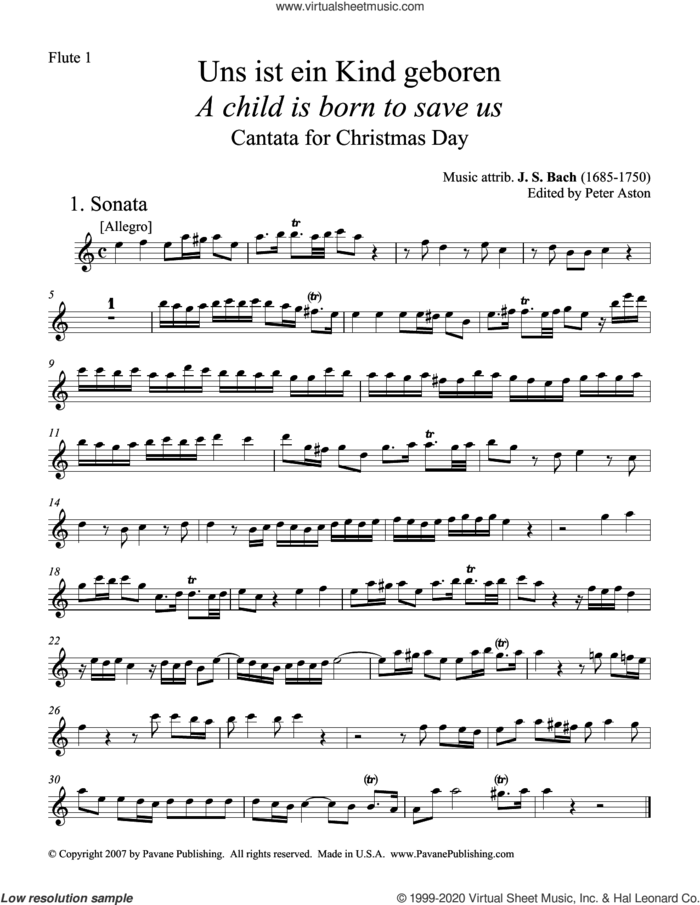 A Child Is Born To Save Us (Uns ist ein Kind geboren) (Parts) (ed. Peter Aston) (complete set of parts) sheet music for orchestra/band by Johann Sebastian Bach and Peter Aston, classical score, intermediate skill level
