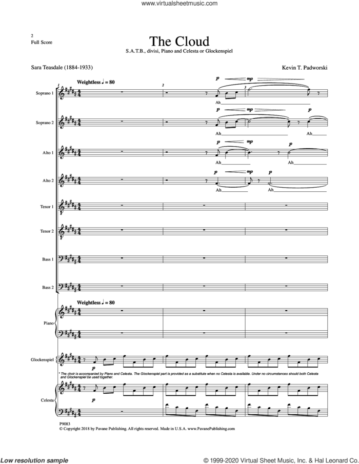 The Cloud (COMPLETE) sheet music for orchestra/band by Sara Teasdale and Kevin T. Padworski, intermediate skill level