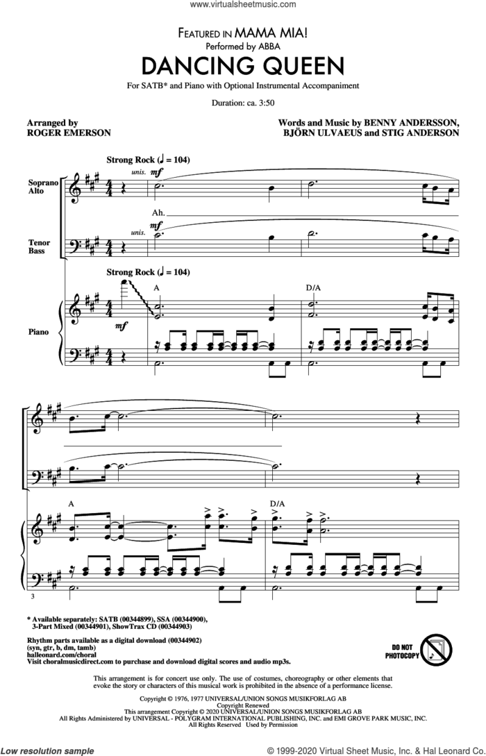 Dancing Queen (from Mamma Mia!) (arr. Roger Emerson) sheet music for choir (SATB: soprano, alto, tenor, bass) by ABBA, Roger Emerson, Benny Andersson, Bjorn Ulvaeus and Stig Anderson, intermediate skill level