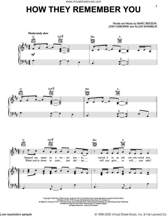 How They Remember You sheet music for voice, piano or guitar by Rascal Flatts, Allen Shamblin, Josh Osborne and Marc Beeson, intermediate skill level