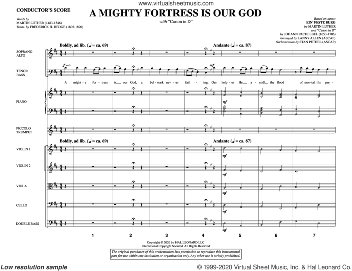 A Mighty Fortress Is Our God (with 'Canon in D') (COMPLETE) sheet music for orchestra/band by Lanny Allen, Johann Pachelbel and Martin Luther, intermediate skill level