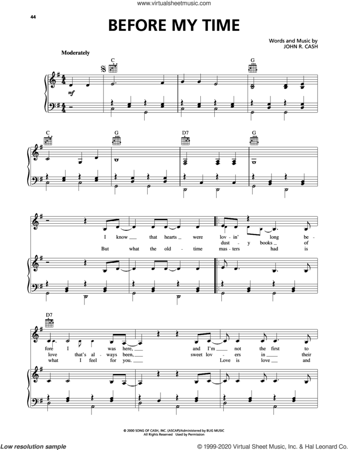 Before My Time sheet music for voice, piano or guitar by Johnny Cash, intermediate skill level