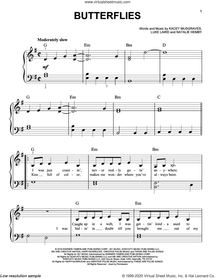 Butterflies sheet music for piano solo by Kacey Musgraves, Luke Laird and Natalie Hemby, easy skill level