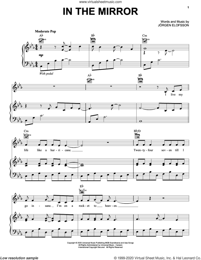 In The Mirror (from Eurovision Song Contest: The Story of Fire Saga) sheet music for voice, piano or guitar by Demi Lovato and Jorgen Elofsson, intermediate skill level